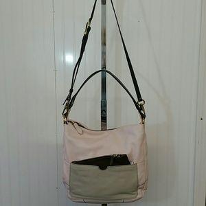 New Yany pink/taupe /brown handbag QVC